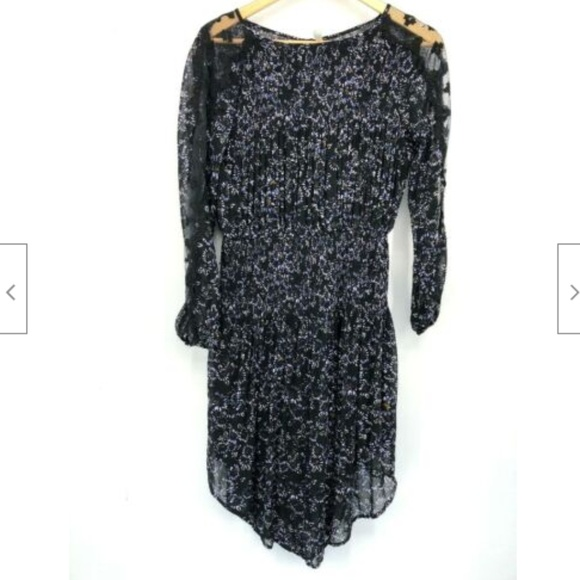 Free People Dresses & Skirts - Free People Black Floral Dress Pleated Small Sheer